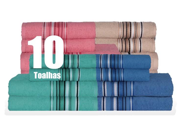 Kit 10 Toalhas de Banho Grande Algodão Atacado Jogo Vegas