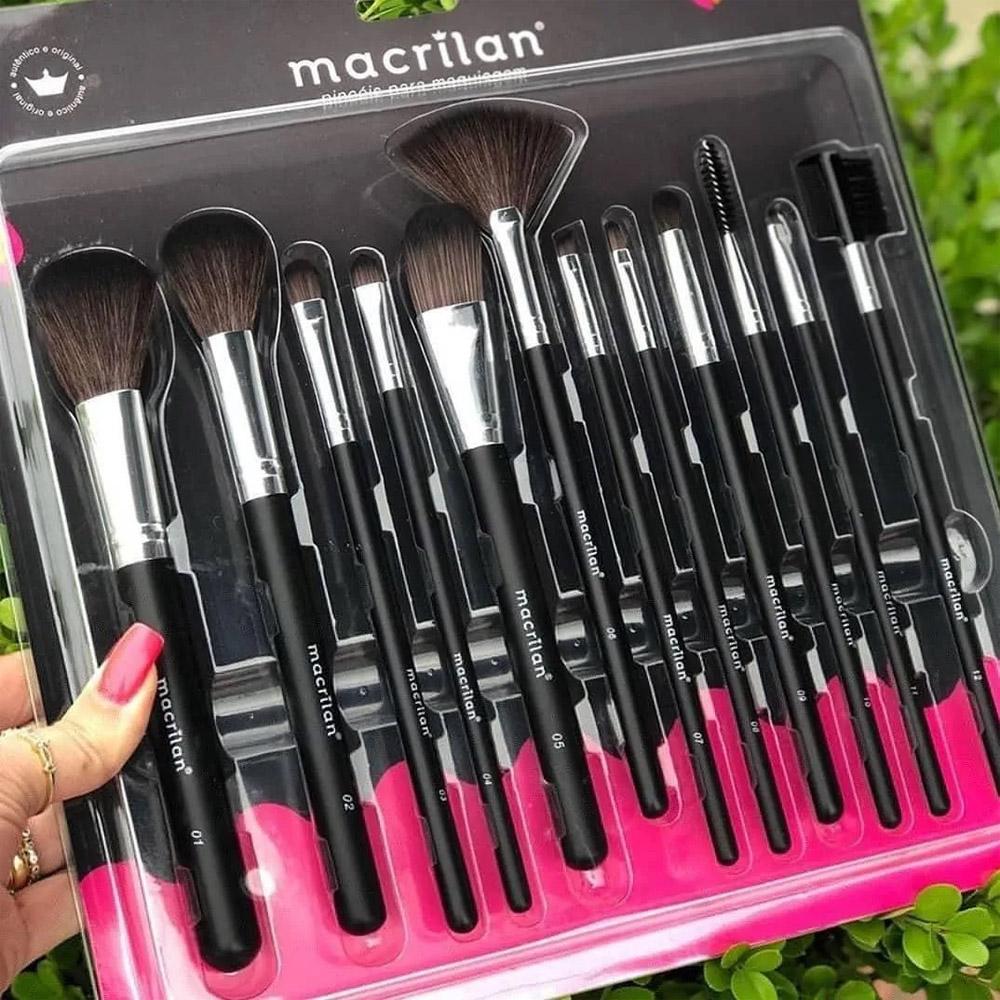 Kit 12 Pincéis Macrilan Maquiagem Pincel Profissional Kp9-1a