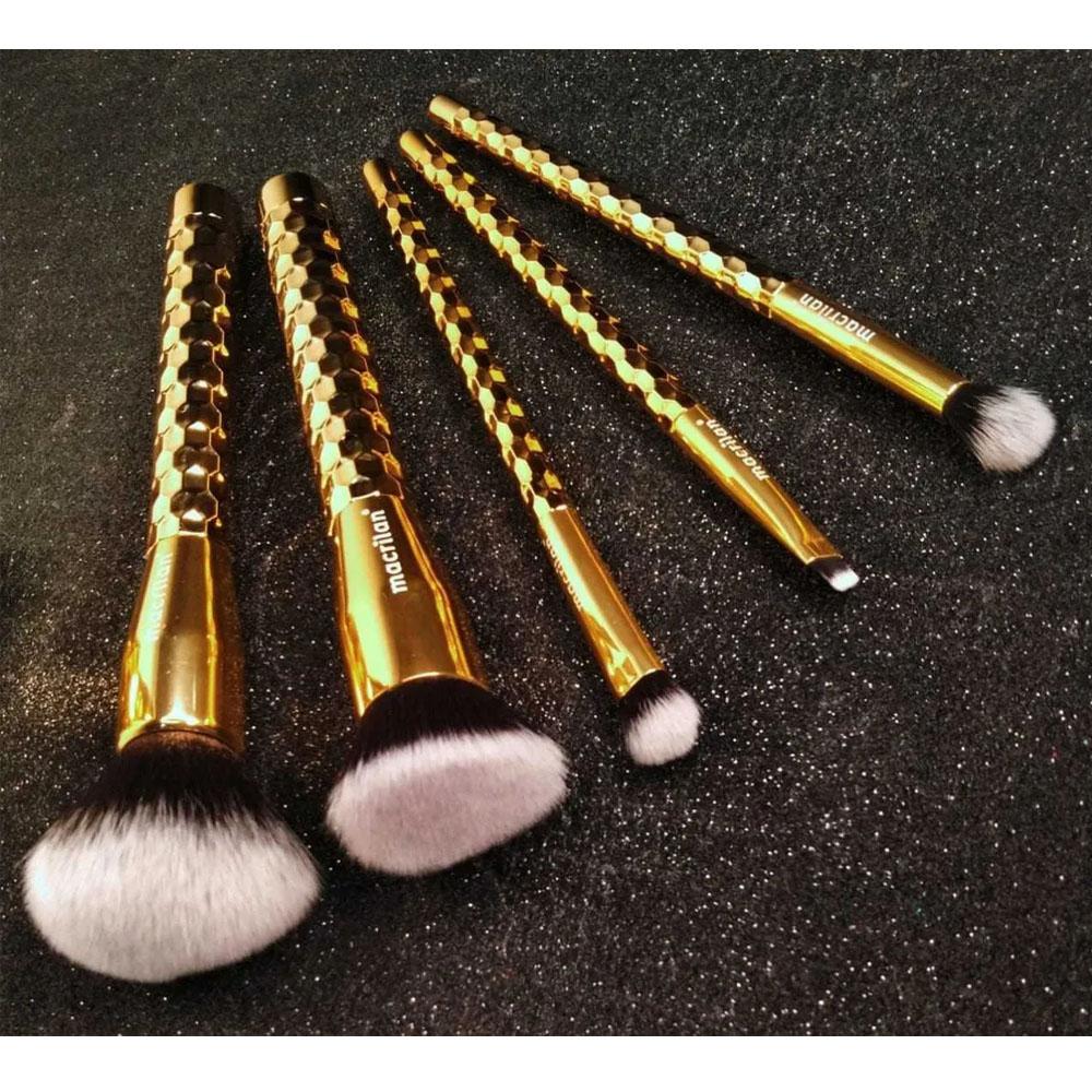 Kit 5 Pincéis Macrilan Maquiagem Precious Gold