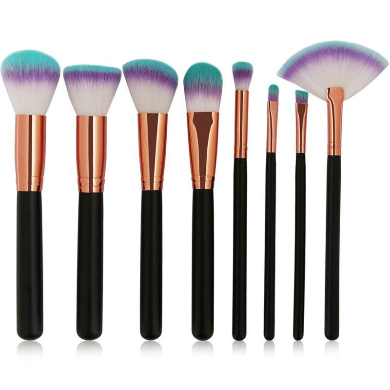 Kit 8 Pincéis Maquiagem Pincel Base Sombra Brush