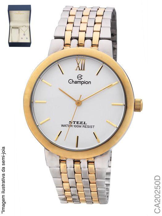 Kit Champion Ca20250d Relógio Feminino + Conjunto Semi-jóia