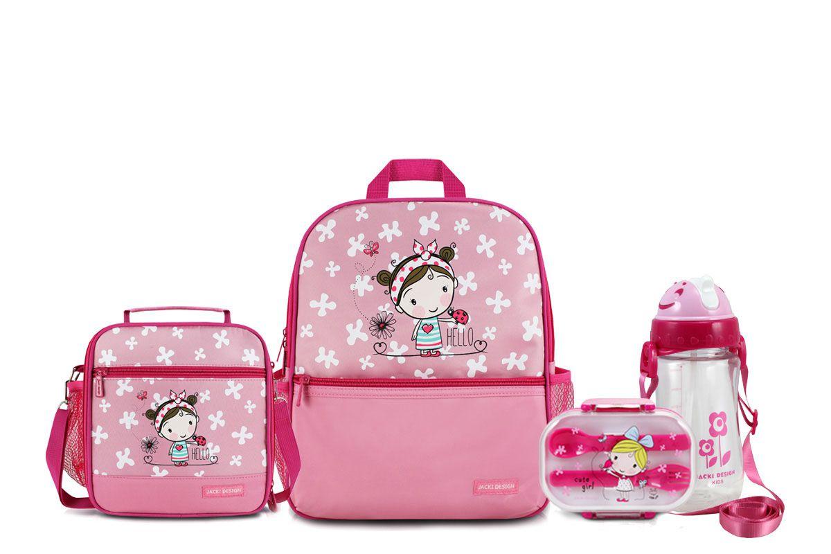 Kit Escolar Mochila Estojo Lancheira Infantil Jacki Design