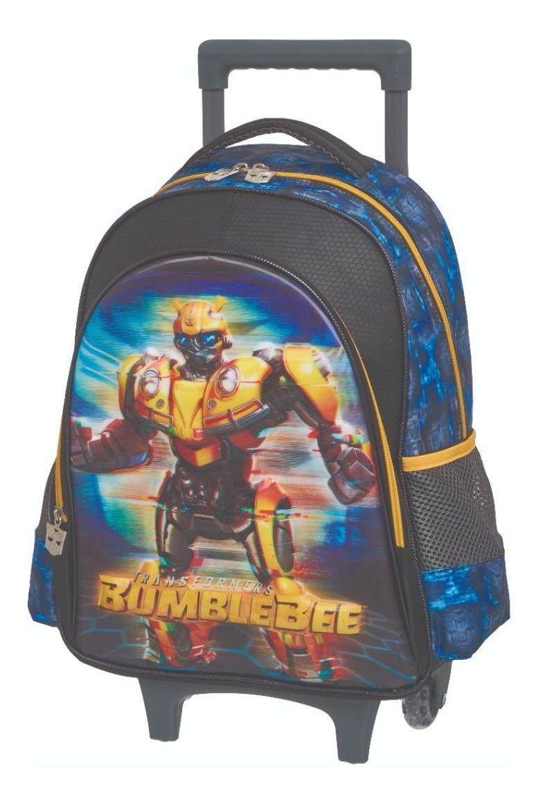 Kit Escolar Transformer Bumblebee Glitch 3D Mochila Rodinhas + Lancheira + Estojo Duplo