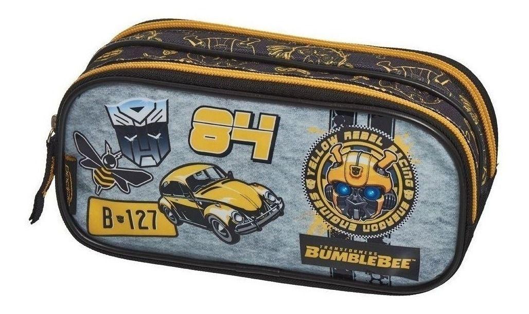 Kit Escolar Transformer Mochila Bumblebee Racer + Lancheira + Estojo