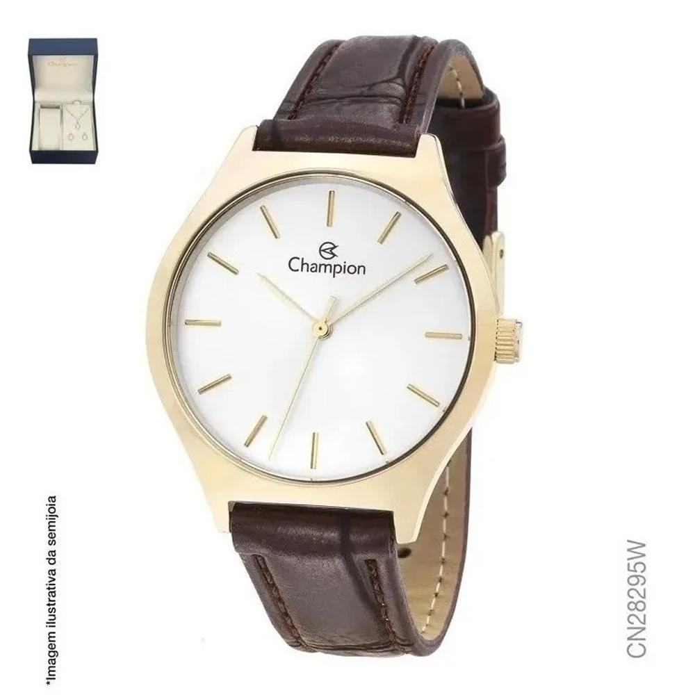 Kit Relógio Champion Couro Dourado CN28295W Feminino