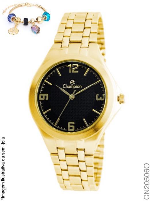Kit Relógio Champion Dourado Feminino Cn20506o + Pulseira Semijoia Garantia Prova Dágua
