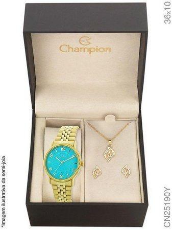 Kit Relógio Champion Feminino Analógico Visor Azul CN25190Y + Semijoia