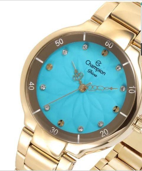 Kit Relógio Champion Feminino Analógico Visor Azul Social CN25234Y + Semijoia