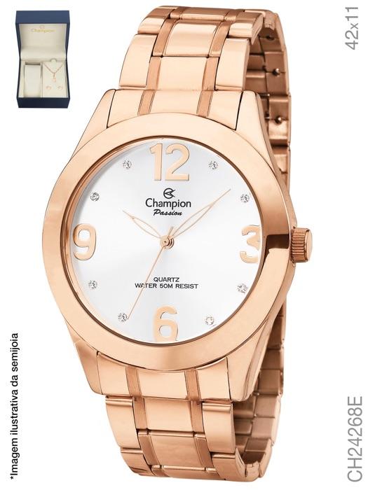 Kit Relógio Champion Feminino Ch24268e Passion Rose