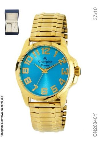 Kit Relógio Champion Feminino CN26340Y Dourado Fundo Azul