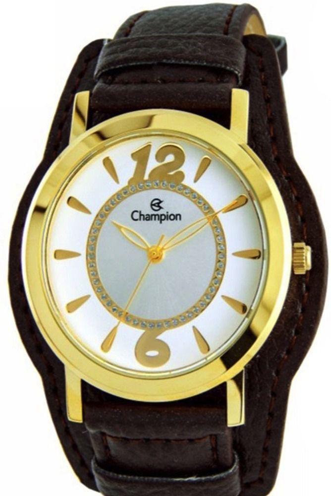 Kit Relógio Champion Feminino Couro Cn20284w