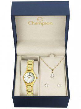 Kit Relógio Champion Feminino Dourado Ch25249w + Semijoia