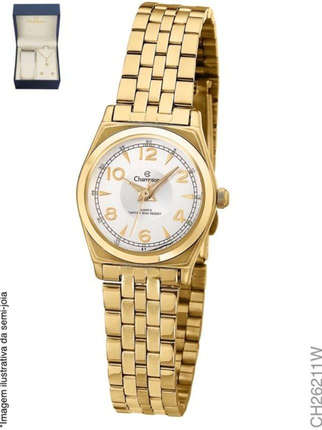 Kit Relógio Champion Feminino Dourado CH26211W + Semijoia