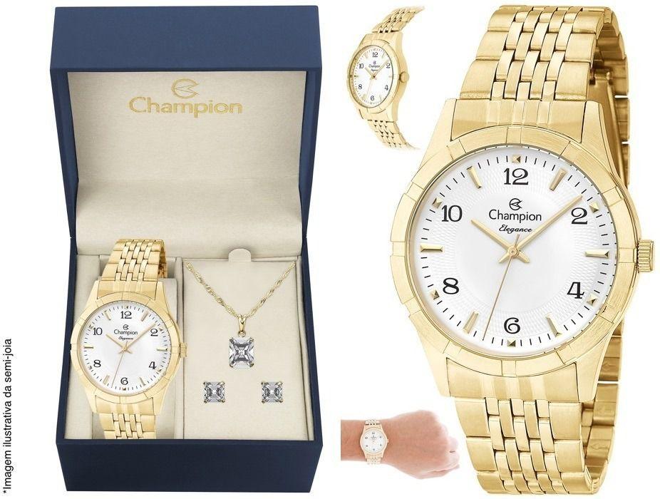 Kit Relógio Champion Feminino Dourado Cn25449w + Colar E Brincos 1 Ano de Garantia Prova Dágua