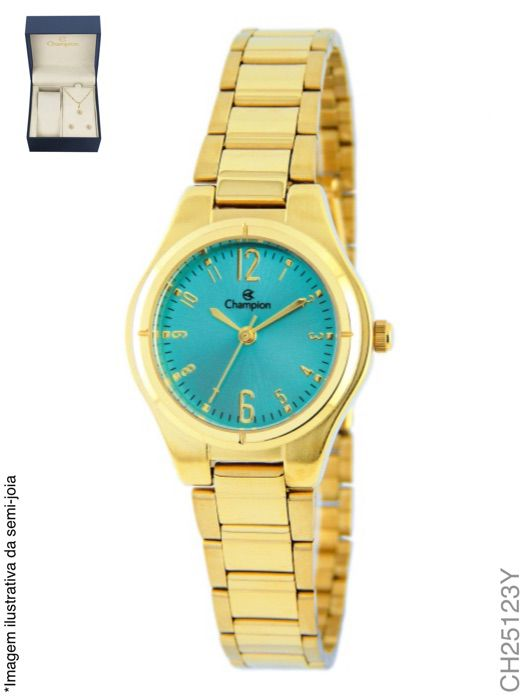 Kit Relógio Champion Feminino Dourado Social CH25123Y + Semijoia