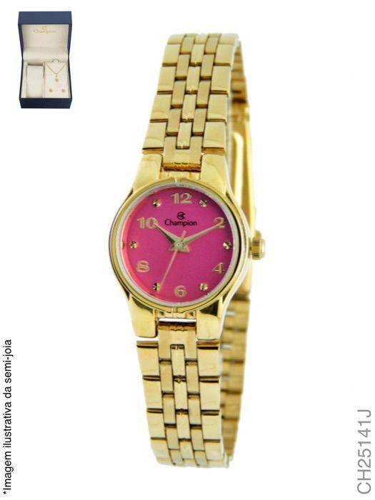 Kit Relógio Champion Feminino Dourado Social CH25141J + Semijoia