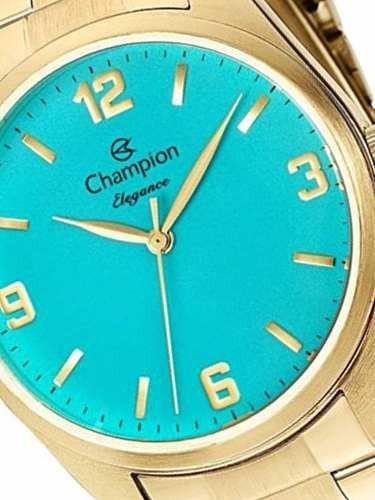 Kit Relógio Champion Feminino Dourado Social Visor Azul CN26046Y + Semijoia