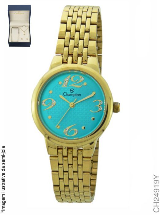 Kit Relógio Champion Feminino Dourado Visor Azul CH24919Y + Semijoia