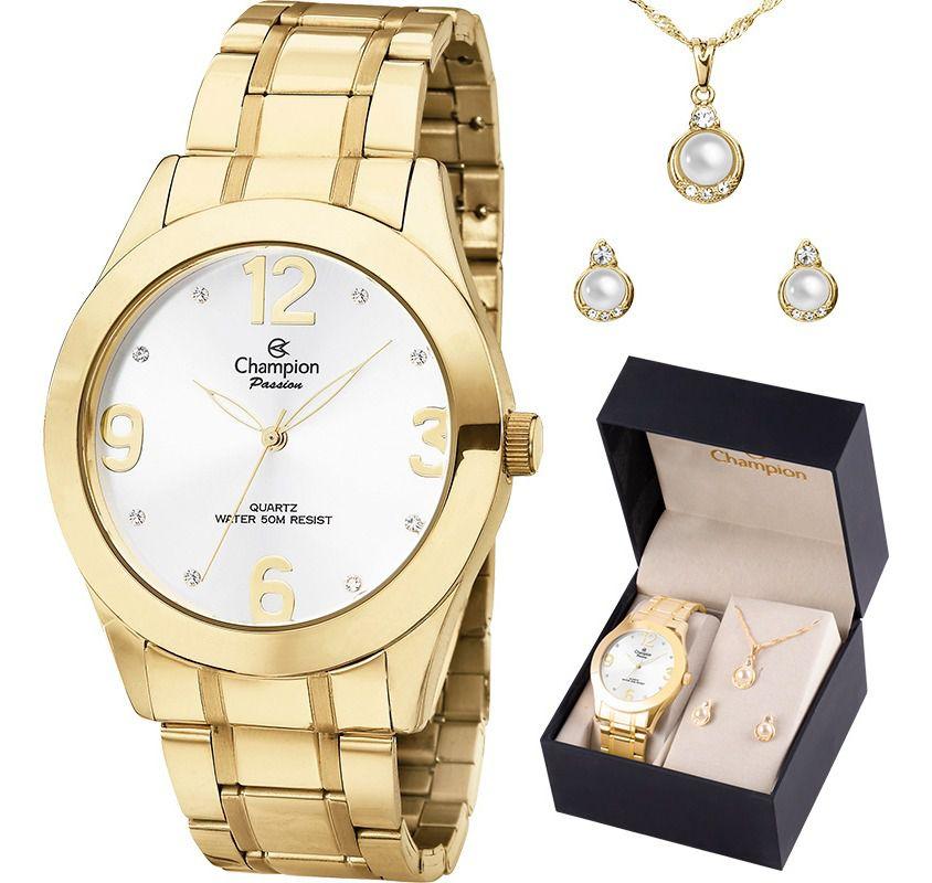 Kit Relógio Champion Feminino Passion Dourado Com Colar E Brincos Ch24268d