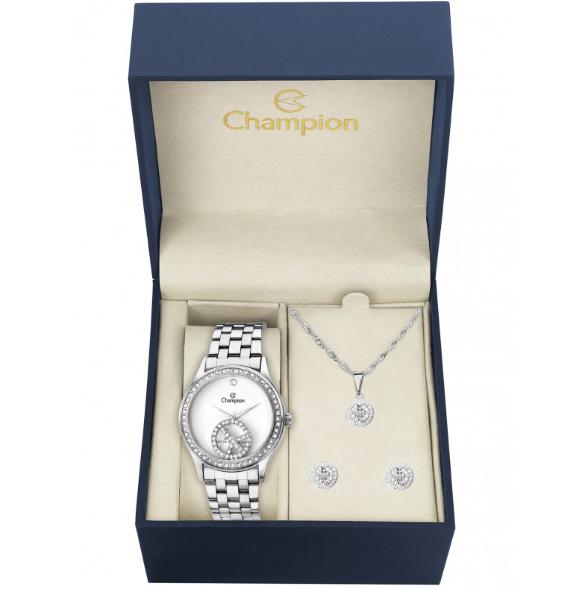 Kit Relógio Champion Feminino Prata CH25785D + Semijoia