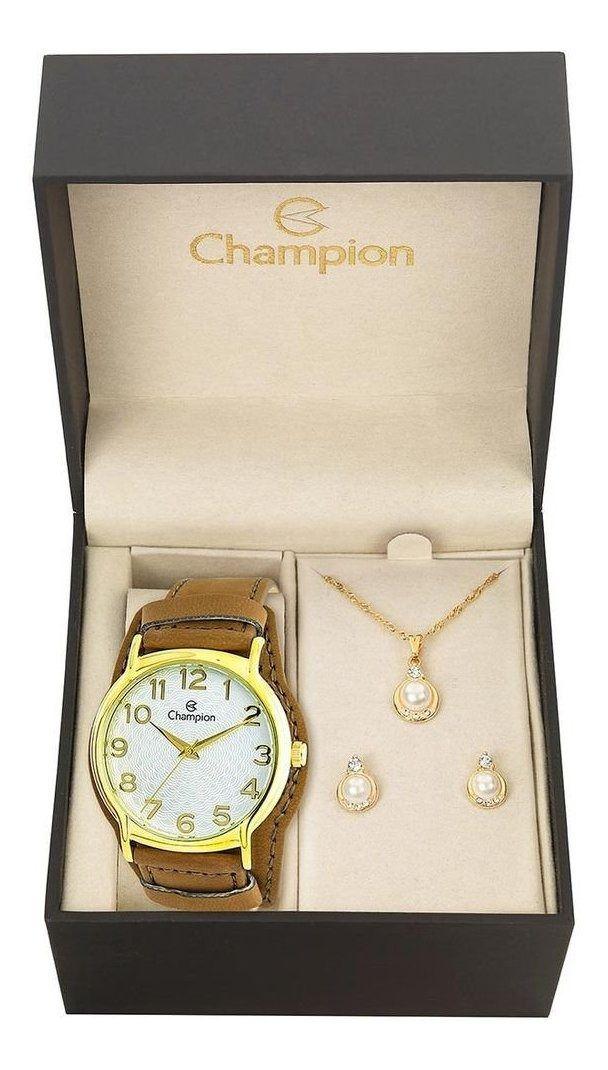 Kit Relógio Champion Feminino Pulseira Couro Cn20211w