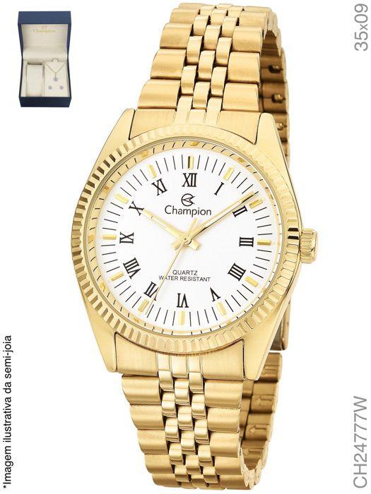 Kit Relógio Champion Feminino Quartz CH24777W Dourado