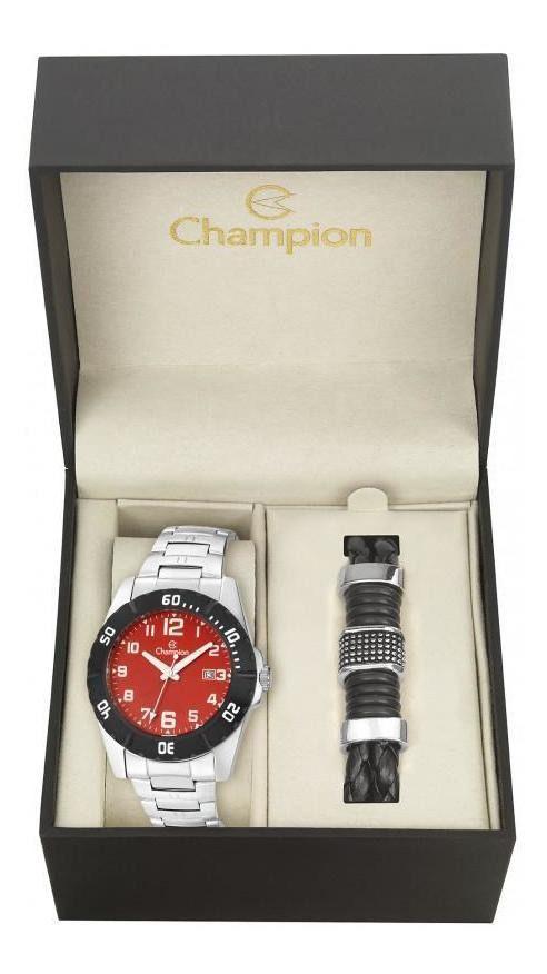 Kit Relógio Champion Masculino Prata E Vermelha - Ca31300z