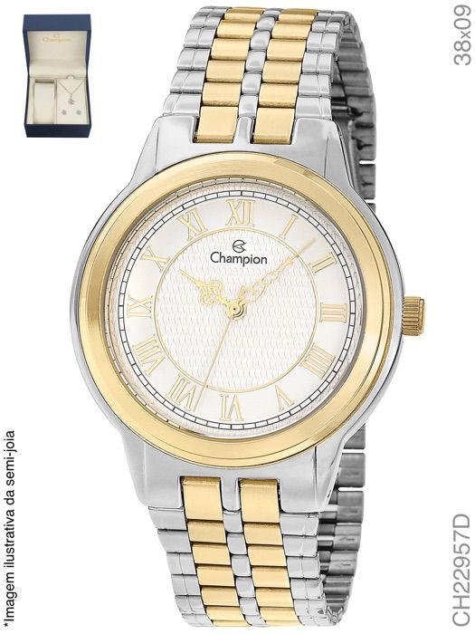 Kit Relógio Champion Prateado E Dourado Feminino Ch22957d