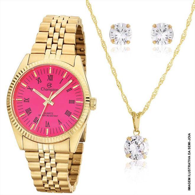 Kit Relógio Feminino Champion CH24777J Dourado 1 Ano de Garantia Prova Dágua