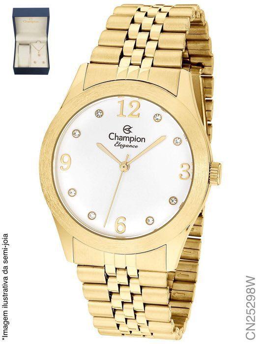 Kit Relógio Feminino Champion CN25298W Elegance com Colar e Brincos
