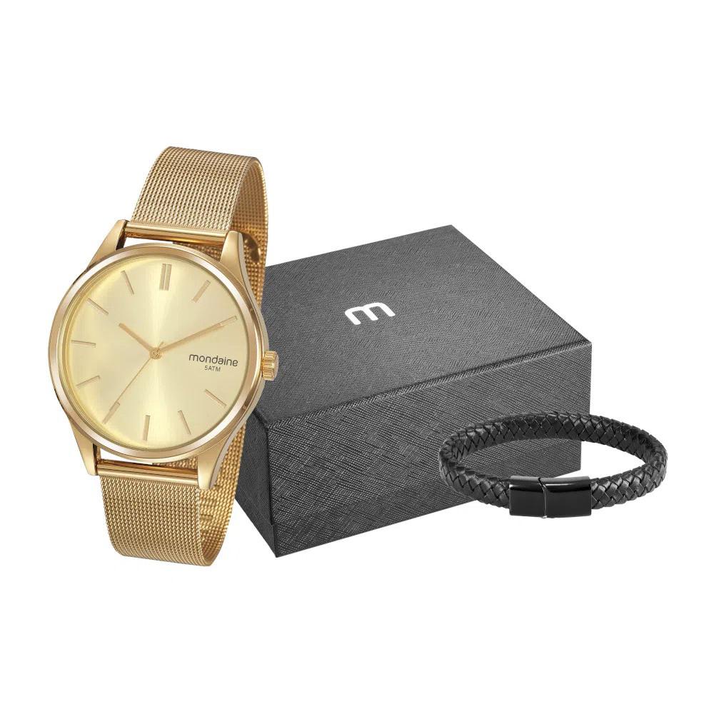 Kit Relógio Mondaine Masculino Dourado + Brinde Pulseira