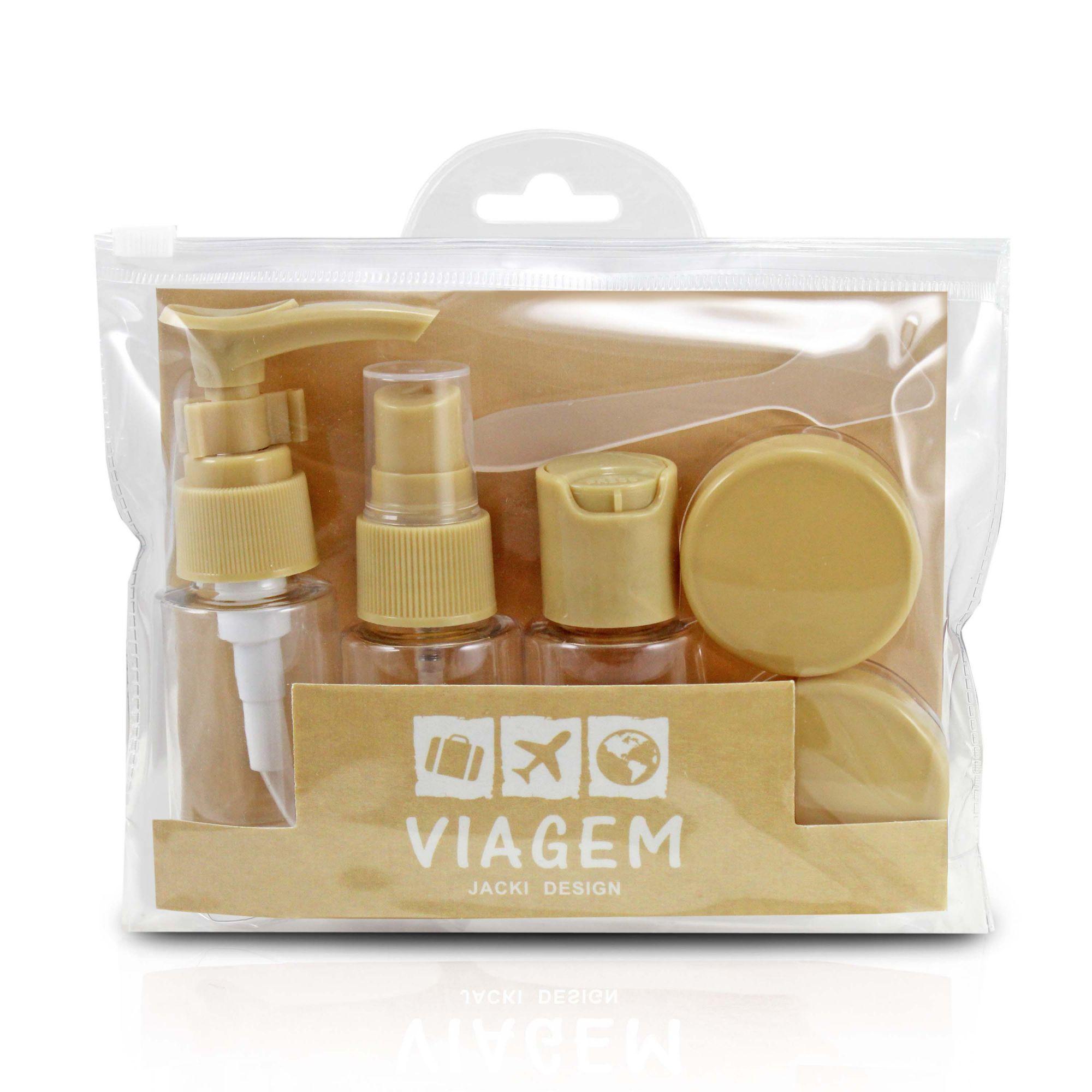 Kit Viagem Porta Shampoo Mini Frascos Pote Creme 7 Peças