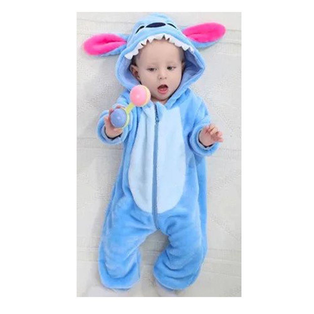 Macacão Pijama Infantil Criança Pelúcia Stitch Fa004