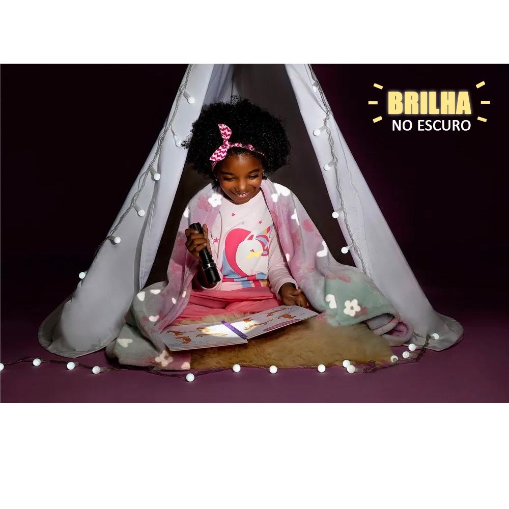 Manta Fleece Dupla Face Glow Kids Brilha No Escuro Lepper