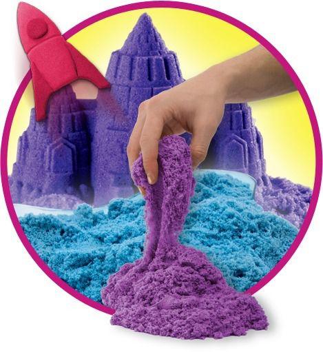 Massa Areia Roxo Neon 141g Com Molde De Castelo Kinetic Sand