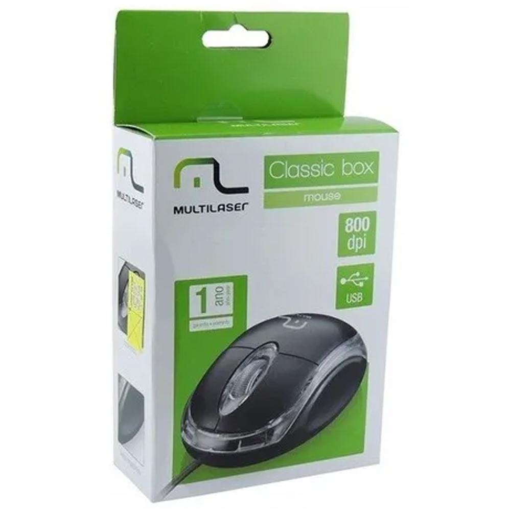 Mouse Multilaser Óptico Classic Preto 800dpi Usb - Mo179
