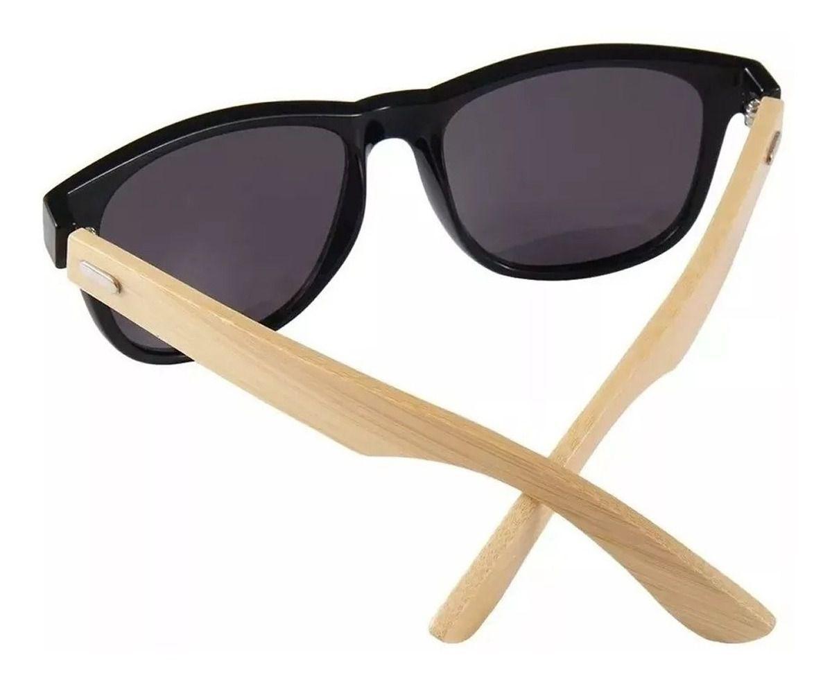 Óculos De Sol Reto Madeira Hastes Bambo Masculino Promoção