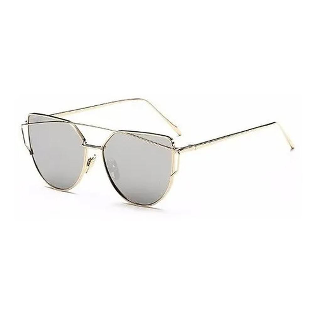 Óculos Espelhado Feminino Olho De Gato Gatinho Metal Redondo