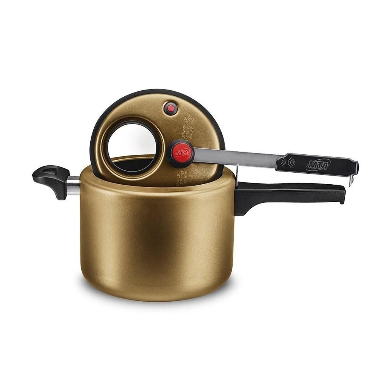 Panela De Pressão Cor Gold Com Visor 4,5 Litros Gold Mta - 8
