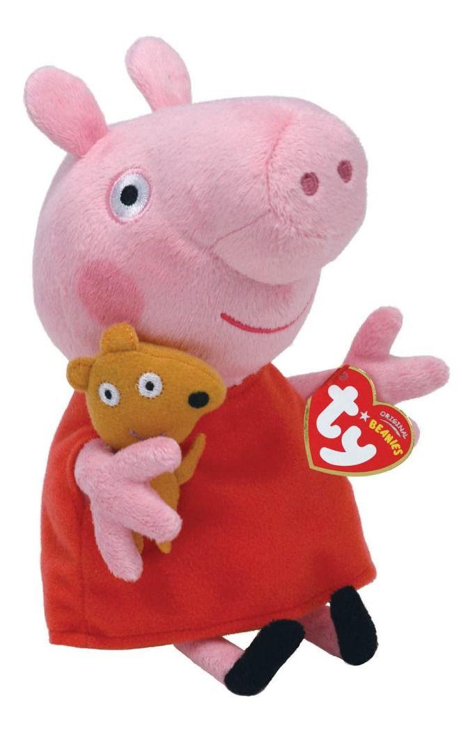 Peppa Pig Pelúcia Peppa Pig Papai George Mamãe Princesa TY Dtc - PEQUENA