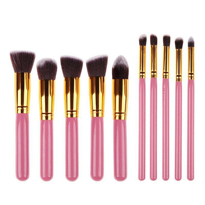 Pincel Kit Kabuki Maquiagem - F80 Ao F88 E P80 Ao P88 Rosa Dourado - DUPL