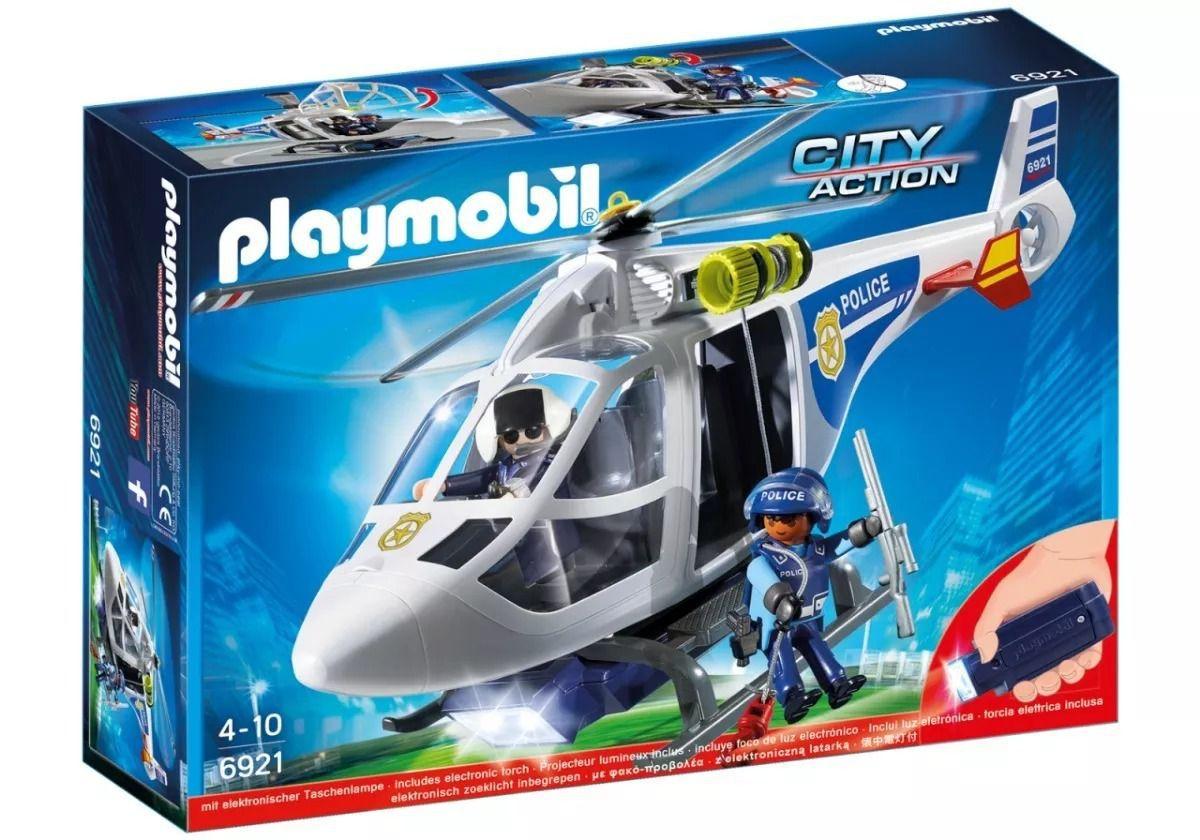 Playmobil City Action Helicóptero Da Polícia Com Luz 6921