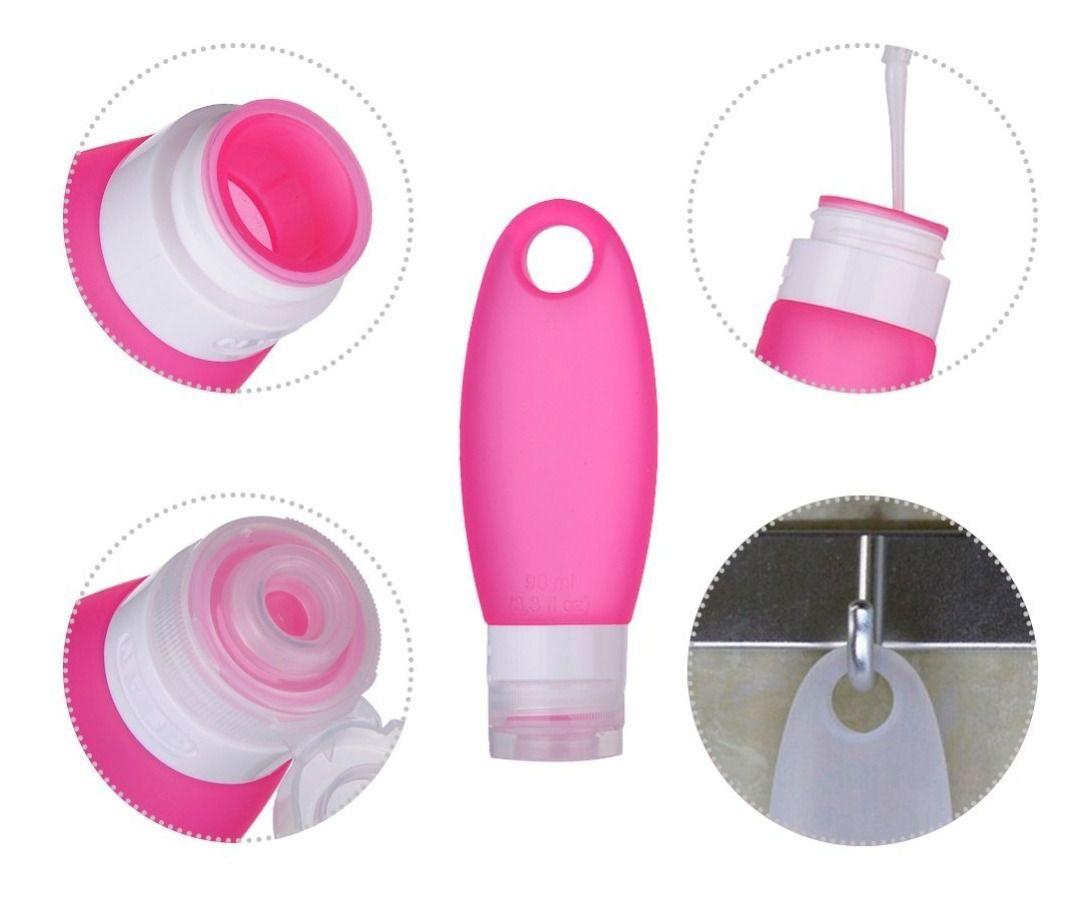Pote Silicone Shampoo Creme Luxo Viagens Kit 4 98ml