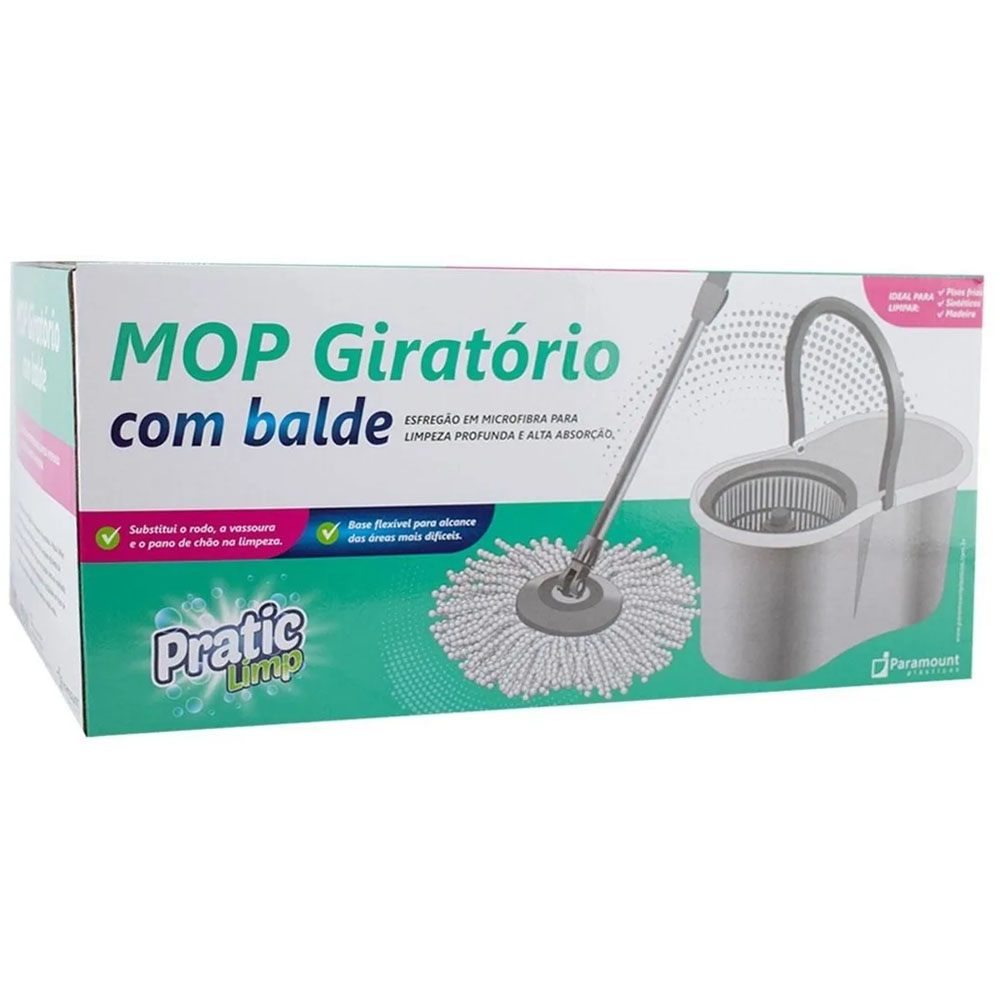 Esfregão Mop Giratório Com Balde