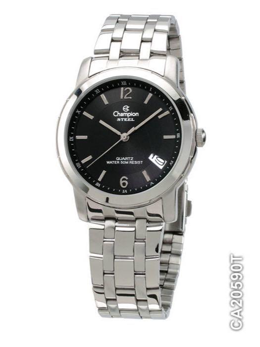 Relógio Champion Aço Ca20590t Fundo Preto
