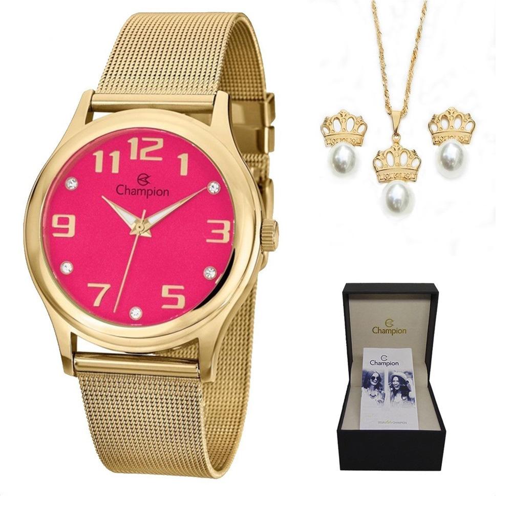 Relógio Champion Analógico Feminino Cn29007j + Kit Semijóia
