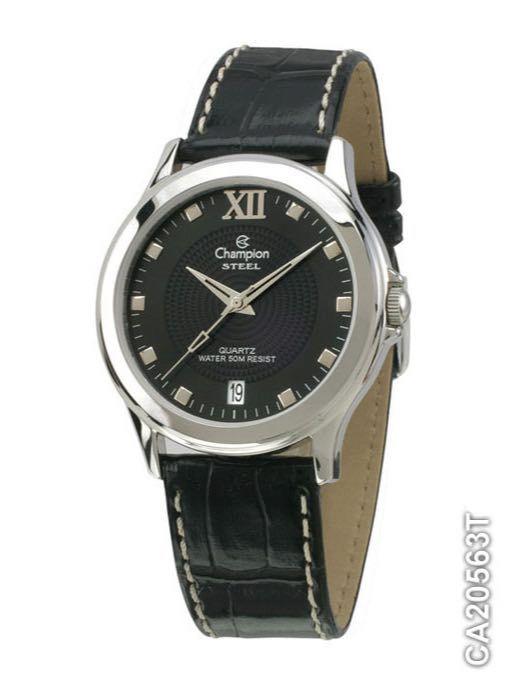 Relógio Champion CA20563T Prata Pulseira Couro