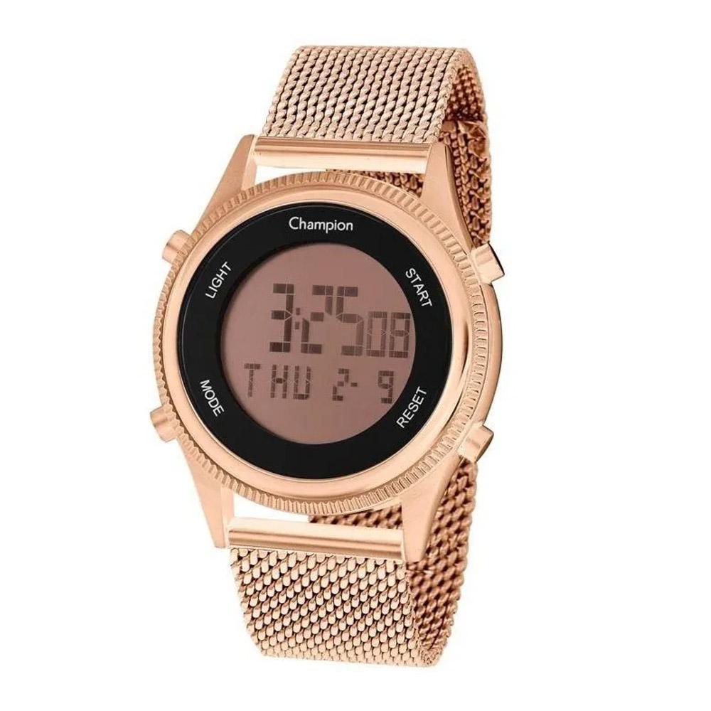Relógio Champion Digital Dourado Rosê Quadrado Escolha o Seu