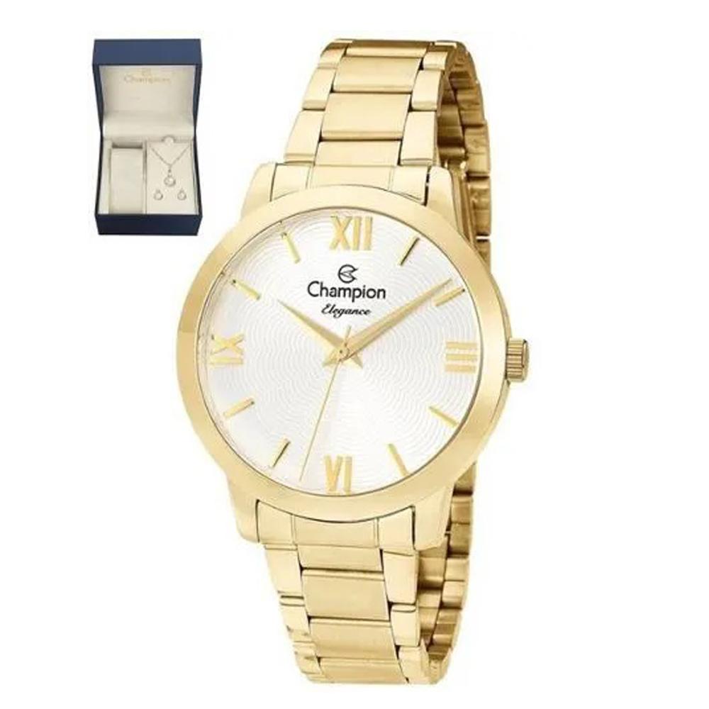 Relógio Champion Elegance Dourado Cn25403w + Kit Semijoias