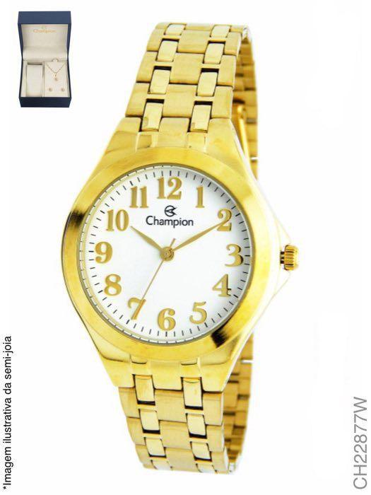 Relógio Champion Feminino Analógico Ch22877w + Kit Semijóia